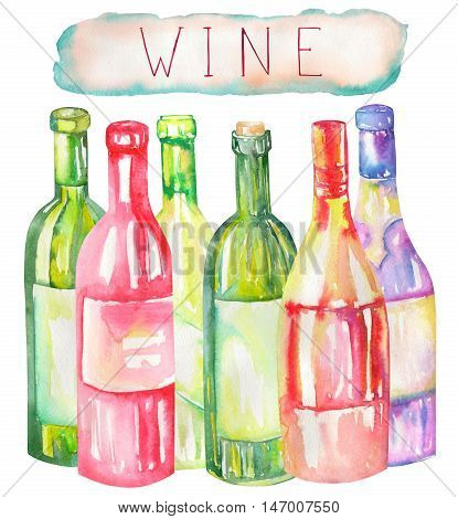 An illustration of the isolated watercolor wine bottles. Painted hand-drawn in a watercolor on a white background.