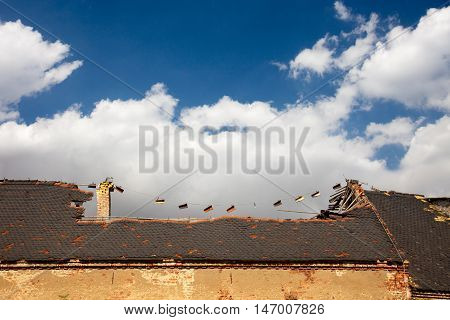 old empty ruined house with collapse roof