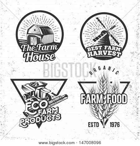 Set of logos farmhouse concepts. Labels in retro vintage style for natural, organic products and homemade food. Vector illustration.