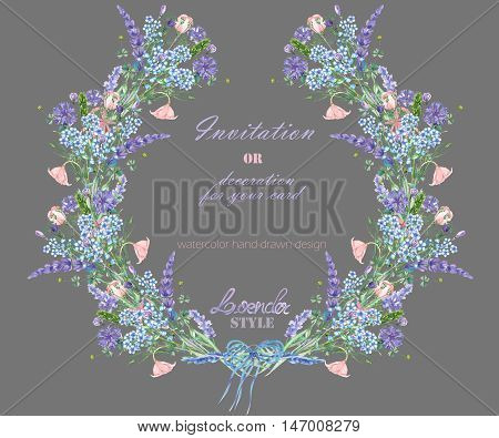 Wreath with the floral design; elements of the lavender, cornflower, forget-me-not and eustoma flowers, hand-drawn in a watercolor;  decoration for a wedding, greeting card on a grey background