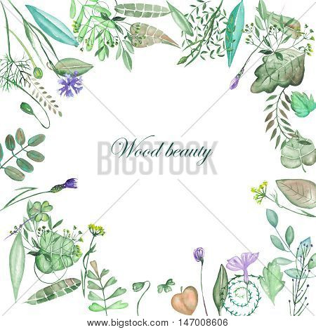 Circle frame, wreath of floral elements, leaves, branches and wildflowers painted in watercolor on a white background