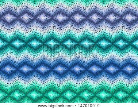 Chevron Pattern Native Boho Fabric Turquoise Blue