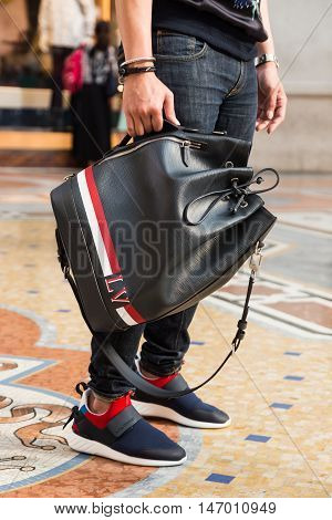 Detail Of A Fashionable Man Posing In Milan, Italy