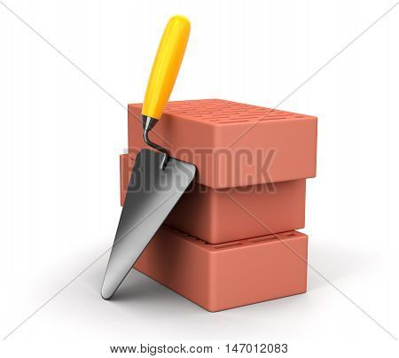 3D Illustration. Bricks and Trowel. Image with clipping path