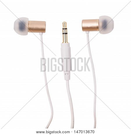 Earphones gold isolated d d d d
