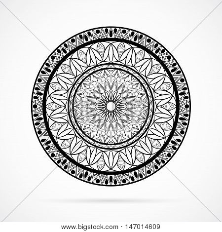 Vector Black Color Flower Mandala over white background. Element for your designs, invitation card, yoga, meditation, astrology, coloring book and other projects. Arabic, indian, asian motifs.