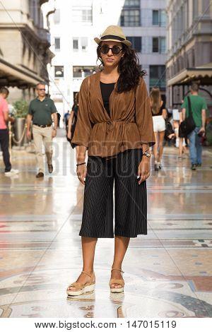 Fashionable Woman Posing In Milan, Italy