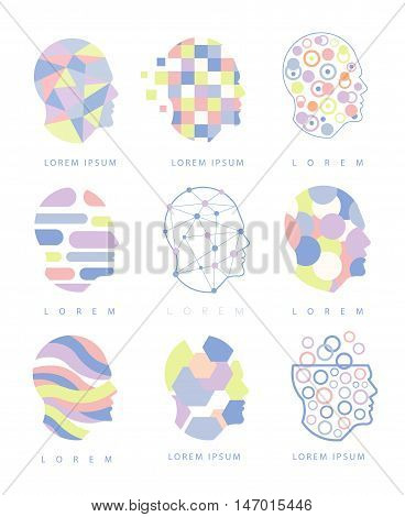 Thinking Inside Human Head Different Abstract Design Pastel Icons. Man Head Shape Filled With Patterns As Creative Thinking Symbol.