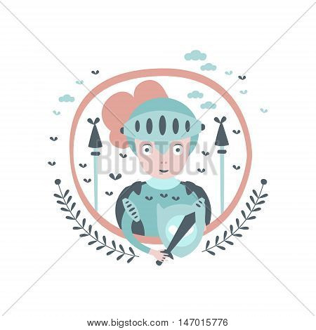 Knight Fairy Tale Character Girly Sticker In Round Frame In Childish Simple Design Isolated On White Background