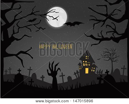 Happy Halloween card.Vector illustration