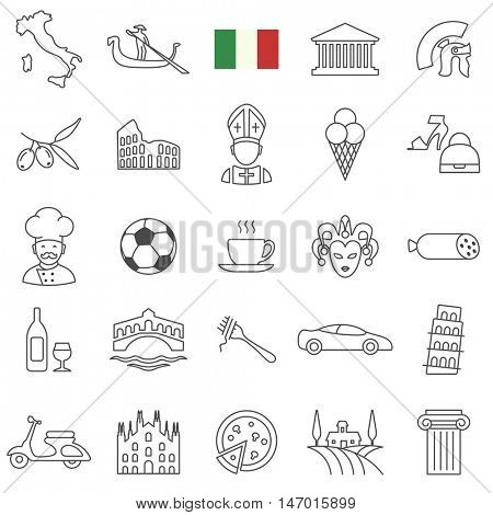 Italy travel  line icons and culture symbols. Vector set