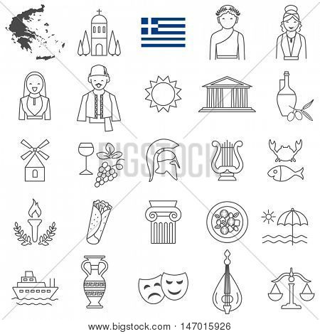 Greece  travel  line icons and culture symbols. Vector set