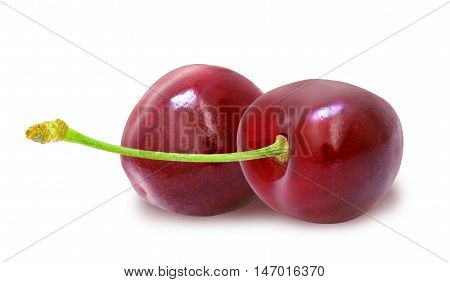 Two fresh ripe red cherries with stem isolated on white background. Design element for product label, catalog print, web use.