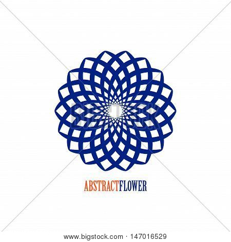 Vector Abstract Flower Blue Mandala Icon isolated over white background. Easy use and recolor.