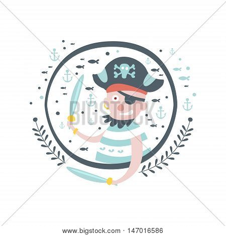 Pirate Fairy Tale Character Girly Sticker In Round Frame In Childish Simple Design Isolated On White Background