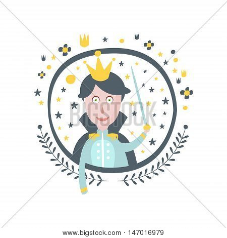 Prince Fairy Tale Character Girly Sticker In Round Frame In Childish Simple Design Isolated On White Background