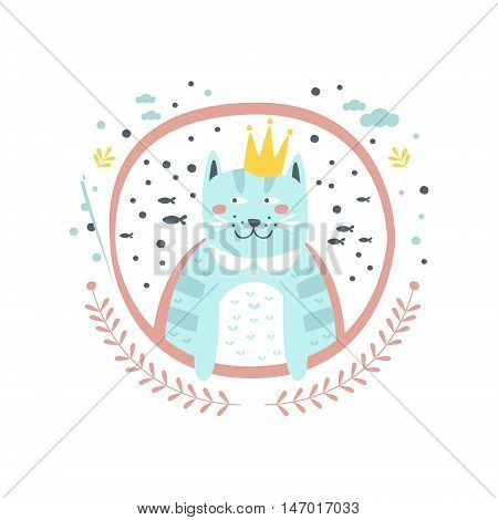 King Cat Fairy Tale Character Girly Sticker In Round Frame In Childish Simple Design Isolated On White Background