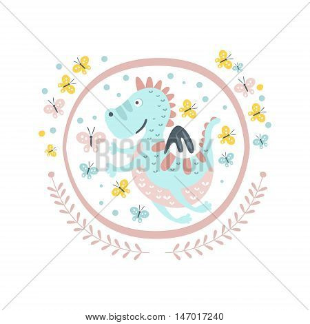 Good Dragon Fairy Tale Character Girly Sticker In Round Frame In Childish Simple Design Isolated On White Background