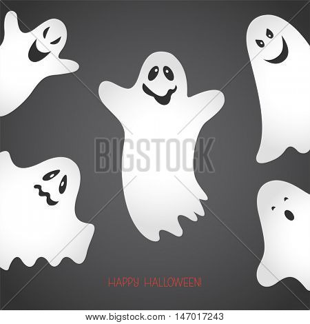 Set of Halloween ghosts.Vector illustration