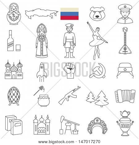Russia travel  line icons and culture symbols. Vector set