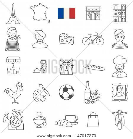 France  travel line icons and culture symbols. Vector set
