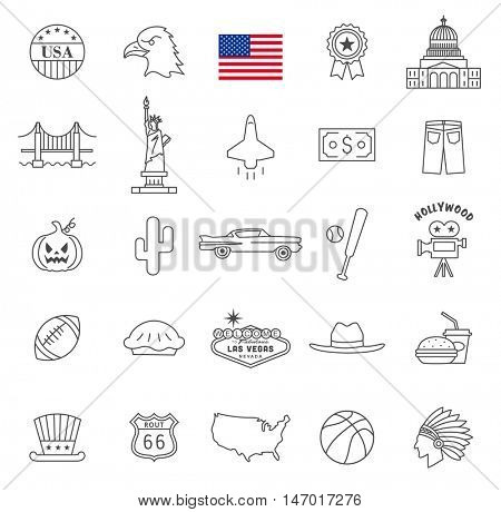 USA travel  line icons and culture symbols. Vector set