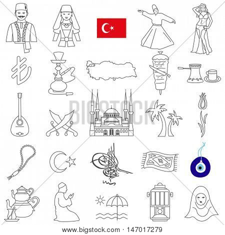 Turkey  travel  line icons and culture symbols. Vector set