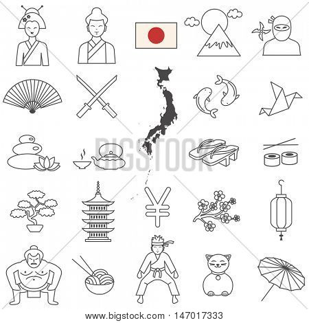 Japanese travel  line icons and culture symbols. Vector set