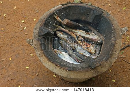 Charcoal grilled fish caught from Mekong River in Laos, simple meal for local people