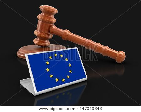 3D Illustration. 3d wooden mallet and European union flag. Image with clipping path