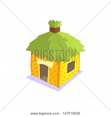 Hut With Green Leaves On The Roof Jungle Village Landscape Element. Cool Colorful Vector Illustration In Stylized Geometric Cartoon Design