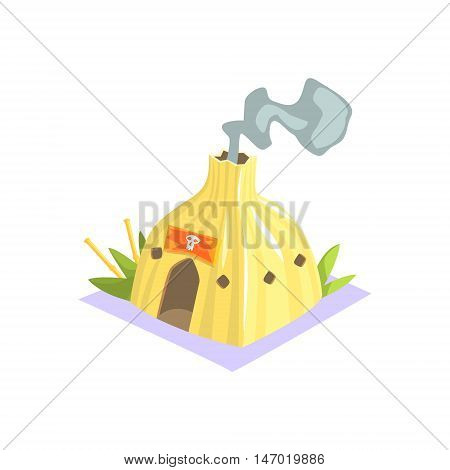 Shaman Hut With Smoke Coming Out Jungle Village Landscape Element. Cool Colorful Vector Illustration In Stylized Geometric Cartoon Design