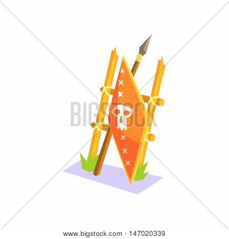 Warriors Shield And Spear In Crafty Style Jungle Village Landscape Element. Cool Colorful Vector Illustration In Stylized Geometric Cartoon Design