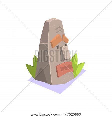 Rock Pagan Monument Jungle Village Landscape Element. Cool Colorful Vector Illustration In Stylized Geometric Cartoon Design