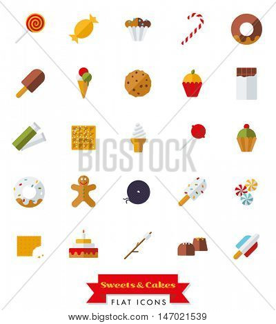 Collection of candy, sweets, cookies and cakes flat design isolated icons