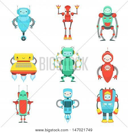 Different Cute Fantastic Robots Characters Set. Bright Color Childish Cartoon Design Androids. Flat Isolated Vector Illustrations On White Background.