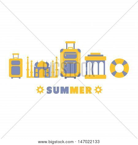 Summer Travel Symbols Set By Five In Line Blue And Yellow Clipart Vector illustration On White Background