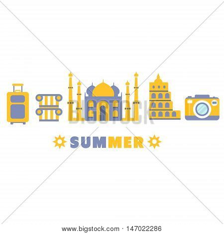 Touristic Summer Vacation Symbols Set By Five In Line Blue And Yellow Clipart Vector illustration On White Background