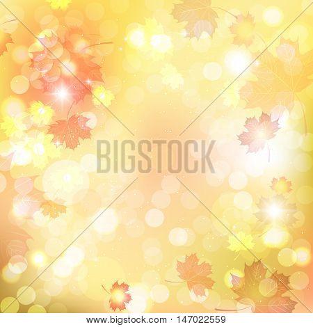 Illustration of fuzzy soft warm autumn background.