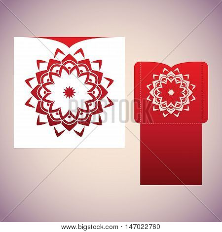 Blueprint of the envelope with mandala. Laser cutting template for envelopes and invitations. Red and white