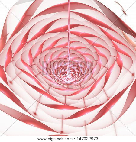 Abstract shining flower on white background. Fantasy fractal design in rose and red colors.
