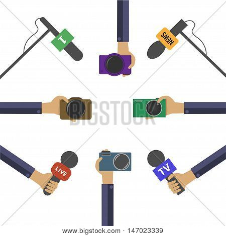 Live news report, hands with microphones and photo cameras