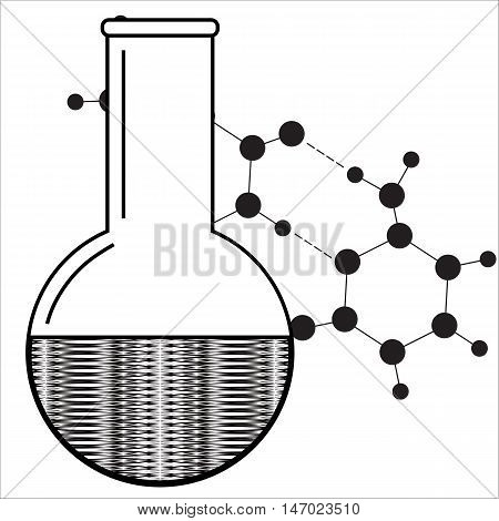 Beaker icon. Chemistry equipment. Abstract laboratory backdrop. Vector illustration.