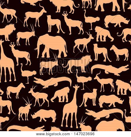 Brown And Beige Pattern With African Animals