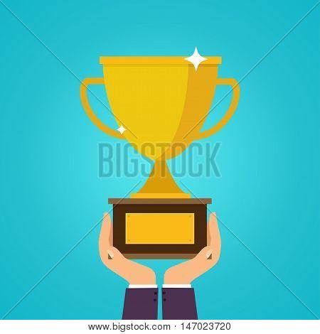 Hands holding winner's cups. Symbol of success winning championship. Flat design style modern vector illustration concept.