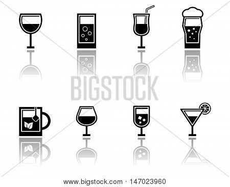 isolated glasses set with mirror reflection silhouette