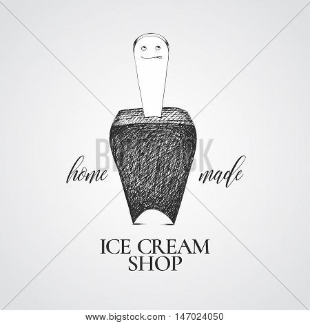 Ice cream vector logo sign emblem. Nonstandard unusual design element with graphic chocolate ice cream smiling character and lettering