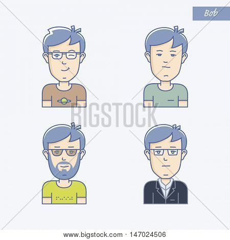 Set of different man face expressions. Icon set of vector linear boy avatar