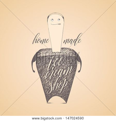 Ice cream vector logo sign emblem. Original design element with graphic chocolate ice cream character with the stick
