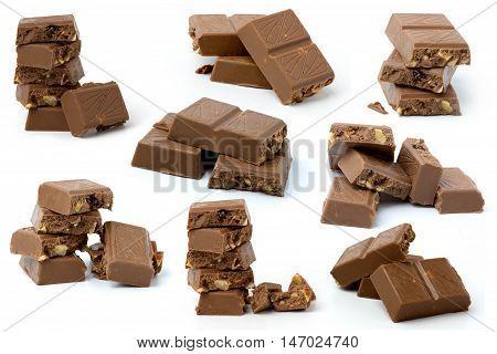 dark chocolate block  isolated on white background